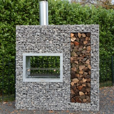 Barbecue gabion bois vertical