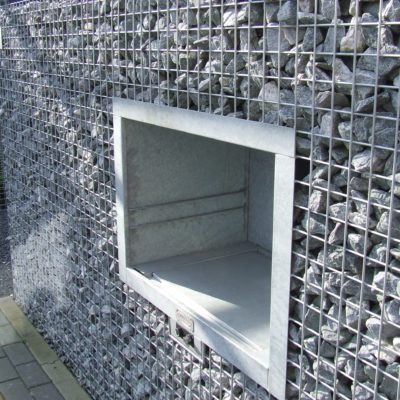 Cheminée gabion gaz rectangle