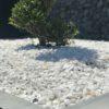 Gravillon blanc glacier concassé/Bordure ardoise
