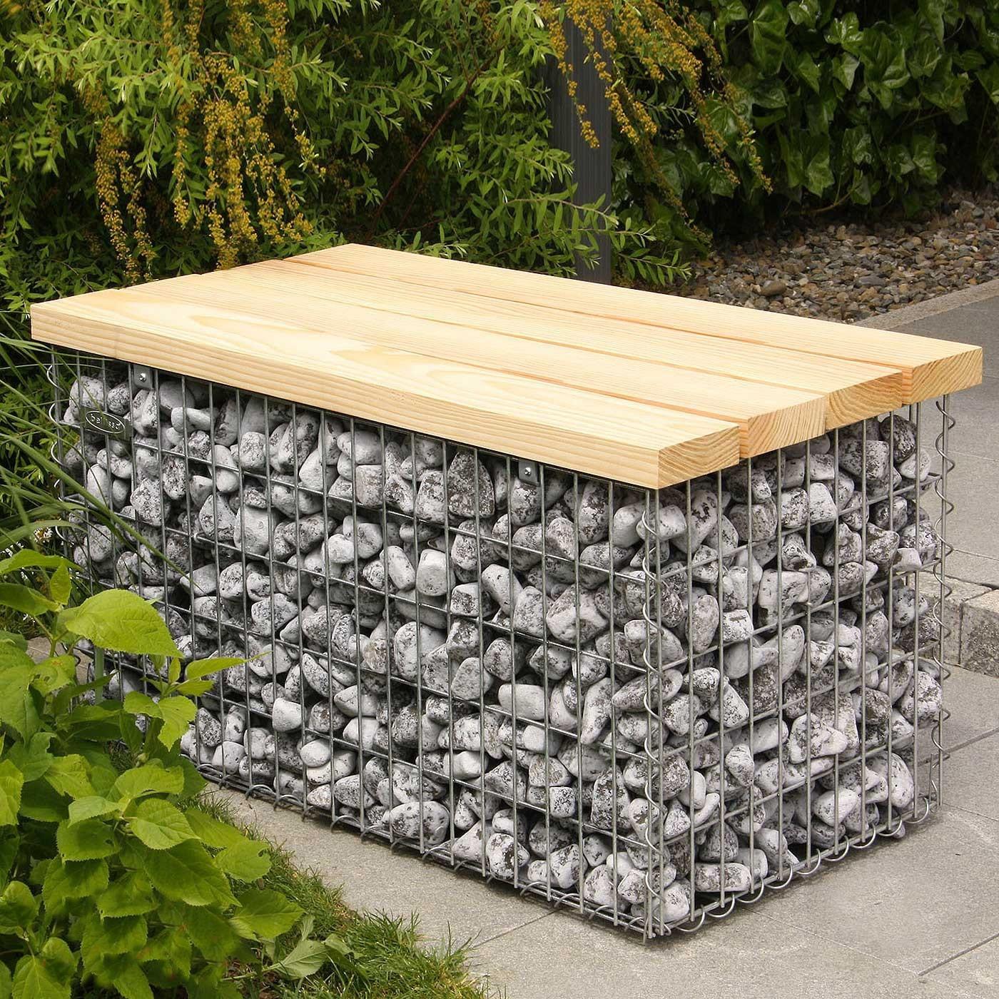 Banc gabion assise bois - Jardivrac - Aménagement extérieur