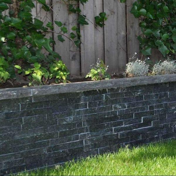 pierre de parement black quarzite mur