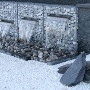 Fontaine gabion jardin