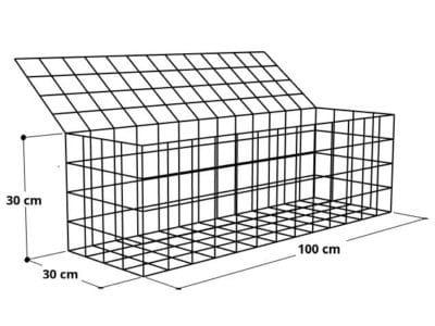 Gabion 100x30x30 (2), Mur gabion prix au mètre larg 30cm x H 30cm