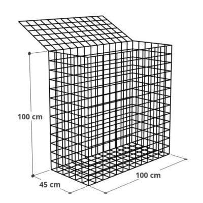 Gabion 100x45x100jpg (2), Mur gabion prix au mètre larg 45cm x H 100cm