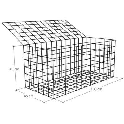 Gabion 100x45x45 (2), Mur gabion prix au mètre larg 45cm x H 45cm