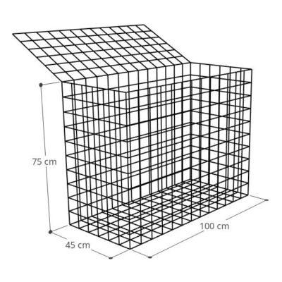 Gabion 100x45x75 (2), Mur gabion prix au mètre larg 45cm x H 75cm